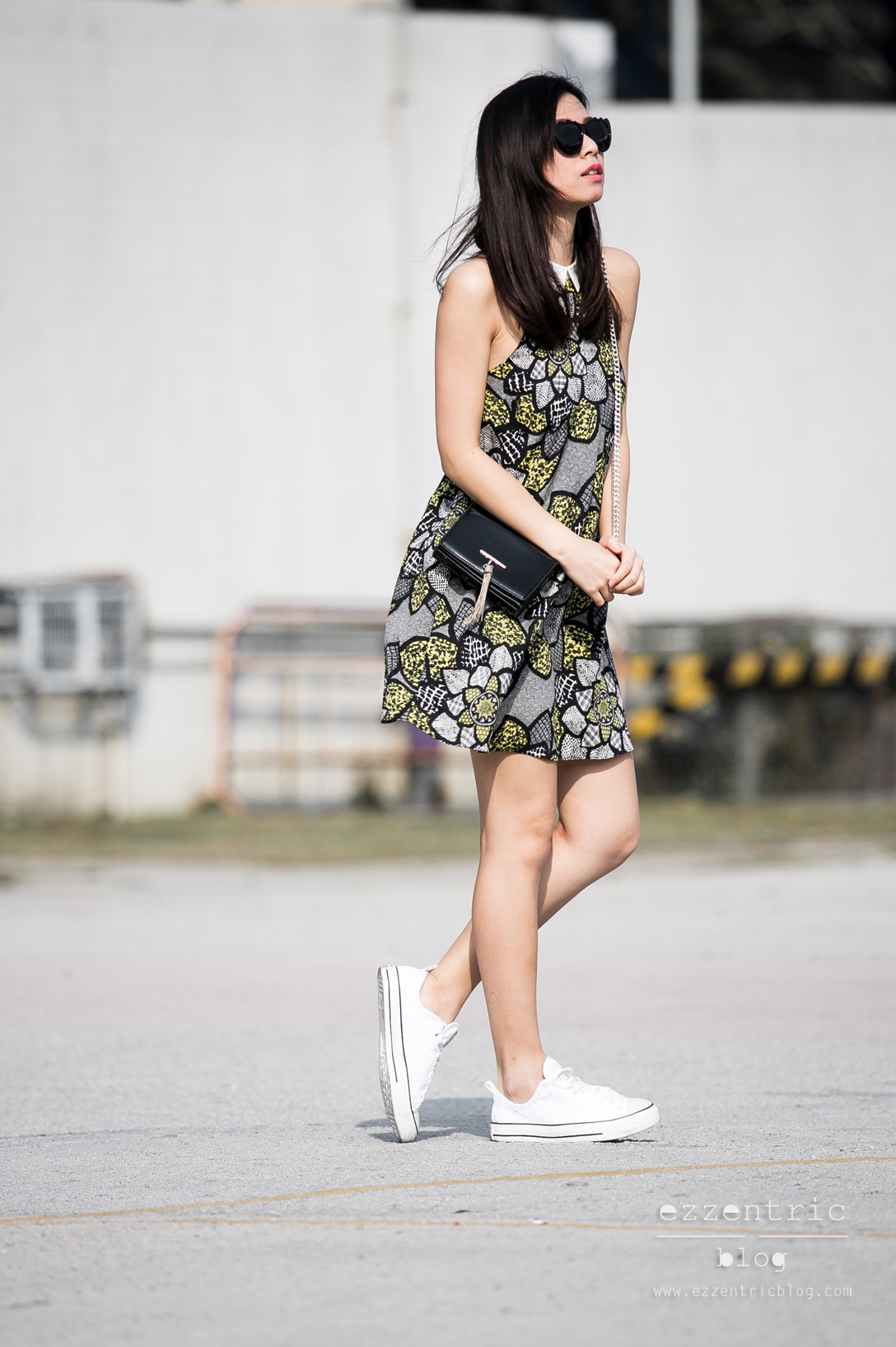 River Island Dress, Woven Converse Sneakers Outfit 04