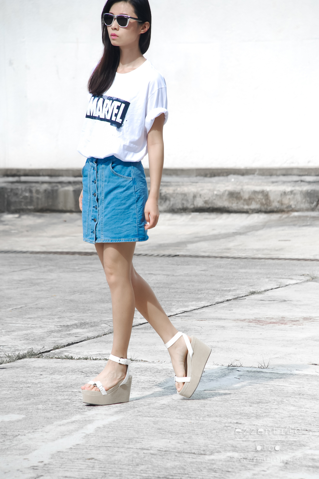 Denim Button Skirt trend